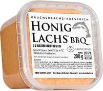 """""""HONIG-LACHS® BBQ"""": laktosefreier Aufstrich aus geräucherten Lachs-/HONIG-LACHS®-Filets - im 200 g Becher."""