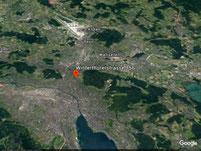 Kartenausschnitt Zürich von Oben mit dem Standort des Ateliers Daniela Rotzetter, Winterthurerstrasse 156, 8057 Zürich