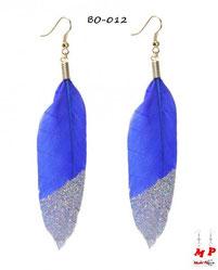 Boucles d'oreilles pendante plumes bleues et paillettes argentées