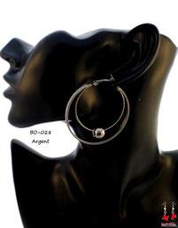 Boucles d'oreilles double anneaux argentés et perle
