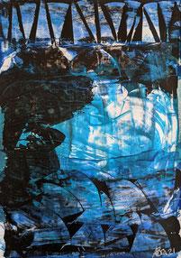 Blaue Nacht - Acryl auf Fotopapier - 2021