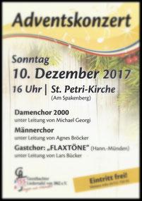 """Adventskonzert 2017 mit dem Gastchor FLAxtöne"""" aus Hann. Münden"""