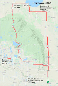Route map for the Forest Fire 300. A long-distance cycling brevet of the Manitoba Randonneurs.