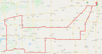 Route map for the Western 400. A new long-distance cycling brevet of the Manitoba Randonneurs.