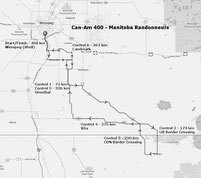 Route map for the Can-Am 400. A long-distance cycling brevet of the Manitoba Randonneurs.