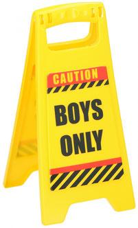 Waarschuwingsbord Boys Only €1,95 ca. 12x25cm