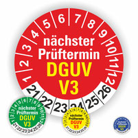 Wartungsetiketten BGV A3 DGUV V3Prüfplaketten Wartung nächste Prüfung Prüftermin