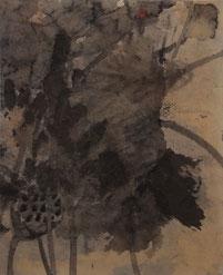 荷花36 LOTUS 36 56X46CM 纸本水墨与矿物色 INK & MINERAL COLOR ON PAPER 2004
