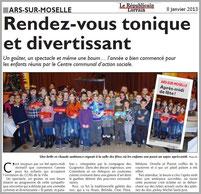 spectacle de magie théâtralisée - LES GUIGNOLOS - article de presse RL  08.01.13 - représentation donnée à ARS-SUR-MOSELLE 57130