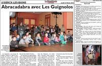 spectacle de magie théâtralisée - LES GUIGNOLOS - article de presse RL  08.01.13 - représentation donnée à SIERCK-LES-BAINS 57480