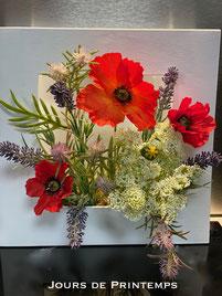 cadre-vegetal-fleurs-artificielles-coquelicots