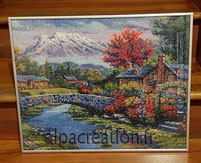 Broderie diamants paysage pont