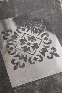 Pochoir Carreau de ciment N°1  de la collection Jeanne d'Arc Living