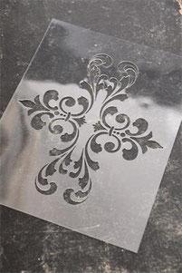 Pochoir Carreau de ciment N°4 de la collection Jeanne d'Arc Living