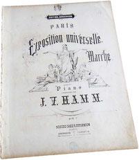 Парижская всемирная выставка, марш, антикварные ноты для фортепиано