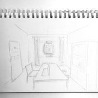 Skizze Raumkonzept Arbeitszimmer