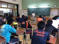 第一学院高等学校高萩校で行われた事前指導の様子