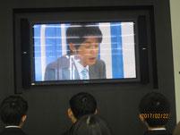事前学習として、CBCテレビについて紹介された映像を視聴。その中に大石邦彦アナウンサーも紹介されていました。