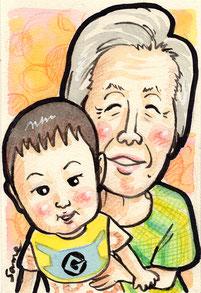 手描きのカラー似顔絵 おばあちゃんと孫