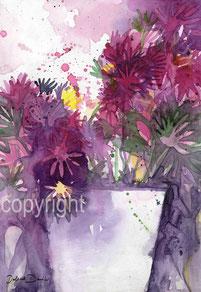 violette Blumen expressives Aquarell