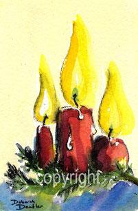 drei Kerzen rot