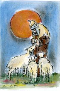 Hirte mit Schafen rote Sonne