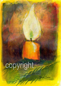 Kerze auf gelb