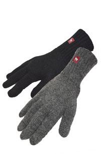 Alpaka Fingerhandschuhe schwarz und grau