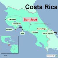 Karte mit der Reiseroute Costa Rica