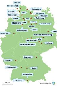 Bild: Karte mit den Stadtbesichtigungen in Europa