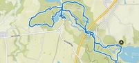 Karte mit der Wanderroute Tørning Mølle in Dänemark