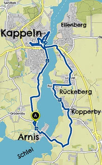 Bild: Wanderkarte von Kappeln und Arnis an der Schrei in Schleswig Holstein