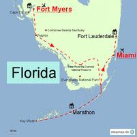 Karte mit der Reiseroute in Florida