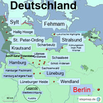 Bild: Karte mit den Kurztrips in Deutschland