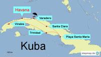 Karte mit der Reiseroute von Kuba