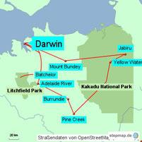 Bild: Karte der Rundreise von Darwin in den Litchfield National Park und Kakadu National Park