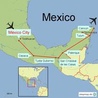 Karte mit der Reiseroute in Mexiko