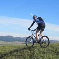 Mountainbiker fährt bergab