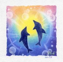虹色の海を泳ぐイルカ