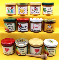 Honig schön verpackt als Geschenk oder Mitbringsel