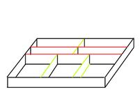 Grün = verstellbare Teilung, Rot = Fix