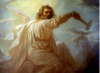Ilmarinen, der Schmied des Himmelszeltes, bei der Arbeit.