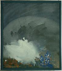 2 blaue Zauberer - Acryl auf Leinwand, 2006 (50x40)
