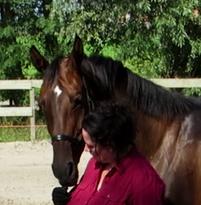 Mieke Baron van Baron Paardentraining met het door haar zelf gefokte paard Djalan Djalan.