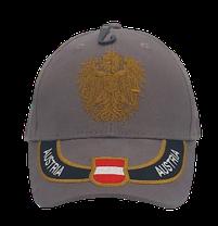 Kappe Austria grau, Stick Wappen und Adler