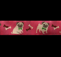 Band 47 -  Mops Hund rosa by Ribbon Adorable Pug Jessica Jones 22mm