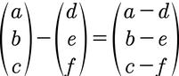 Formel für die Vektorsubtraktion von 3D Vektoren