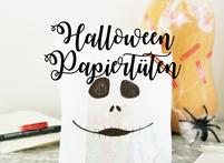 Bild: DIY Halloween Süßigkeiten Verpackungsidee - mit Brotpapiertüten ganz einfach Süßes oder Saures für Halloween verpacken // Idee und Anleitung vom Kreativblog www.partystories.de