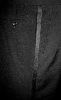 www.mueden.de, Smoking und Frack, schwarze Smokinghose mit Streifen