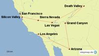 Karte mit der Reiseroute der Westküste in den USA